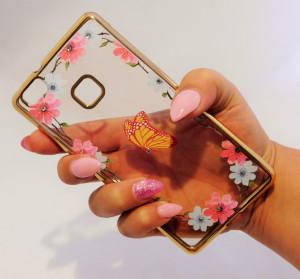 Pouzdro Diamonds design Huawei P9 Lite Motýl