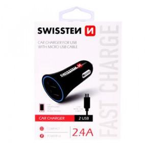 SWISSTEN CL ADAPTÉR 2,4A POWER 2x USB + KABEL MICRO USB