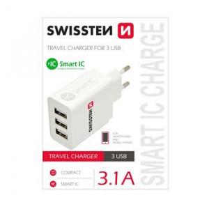 SWISSTEN SÍŤOVÝ ADAPTÉR SMART IC 3x USB 3,1A POWER BÍLÝ