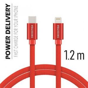 DATOVÝ KABEL SWISSTEN TEXTILE USB-C / LIGHTNING 1,2 M ČERVENÝ