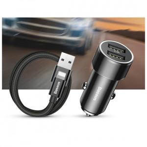 Baseus Nabíječka do auta Small Screw 3.4 A Dual-Usb kabel Ligtning (TZXLD-A01) černý - neo