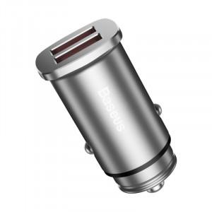 Baseus autonabíječka Square Metal A+A 30W Dual QC3.0 Quick (QC3.0 SCP AFC), stříbrná