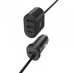 CL adaptér HOCO Z35 (QC3.0 18W) 3x USB 1x Typ C barva černá