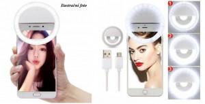 Selfie LED světlo pro mobil - selfie ring Černé 42152