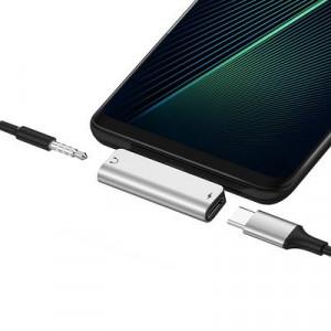 Adapter audio HOCO LS26 audio konvertor z USB-C na Jack 3,5mm + USB-C, černý