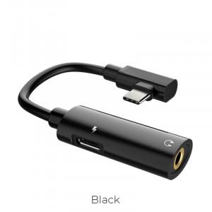 Adapter HOCO LS19 2v1, audio konvertor USB-C - Jakck 3,5mm, černá