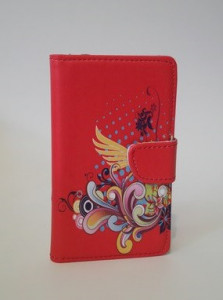 Pouzdro Flower Book Case Red Samsung G350/G3500 Galaxy Core Plus