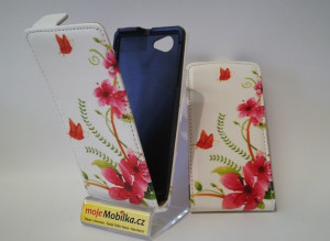Pouzdro Sligo Slim Design White with Pink Flower pro Samsung S6500 Galaxy Mini 2