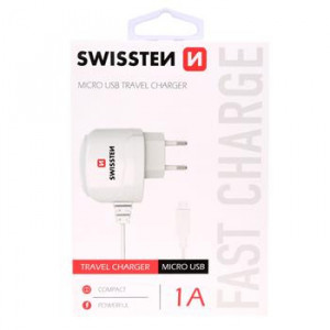 Swissten nabíječka micro usb 1A bílá