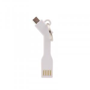 Univerzální datový kabel Brelok USB - MICRO USB - bílý