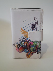 Pouzdro Flower Book Case White Samsung I8260/8262 Galaxy Core DS