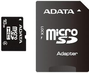 ADATA microSD 16GB Class 4 + adaptér AUSDH16GCL4-RA1